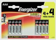Energizer Max Batteries 4 Plus 4 Free - AAA